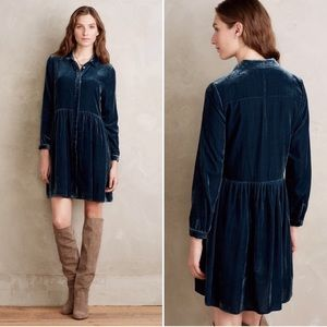 Teal Velvet Aelish Velvet Shirtdress NWT S